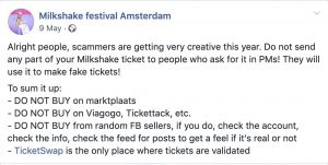 Milkshake Facebook Post warning about ticket scammers