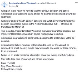 Amsterdam Bear Weekend Cancellation Notice 2020-03-12