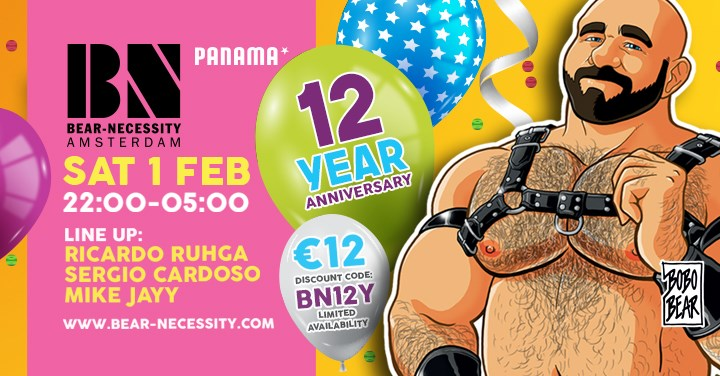 Bear Necessity 12th Anniversary Party - Club Panama Amsterdam - Gay Bear Dance Party